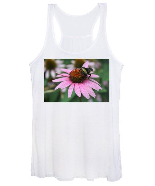 Bumble Bee On Pink Coneflower Women's Tank Top