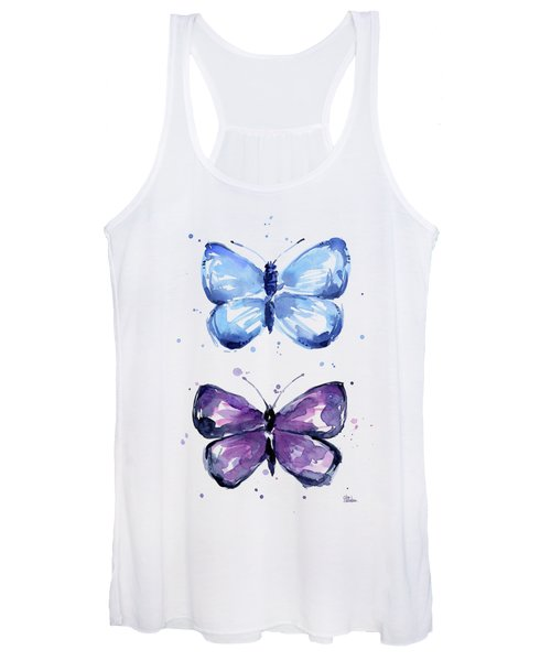 Butterflies Blue And Purple  Women's Tank Top