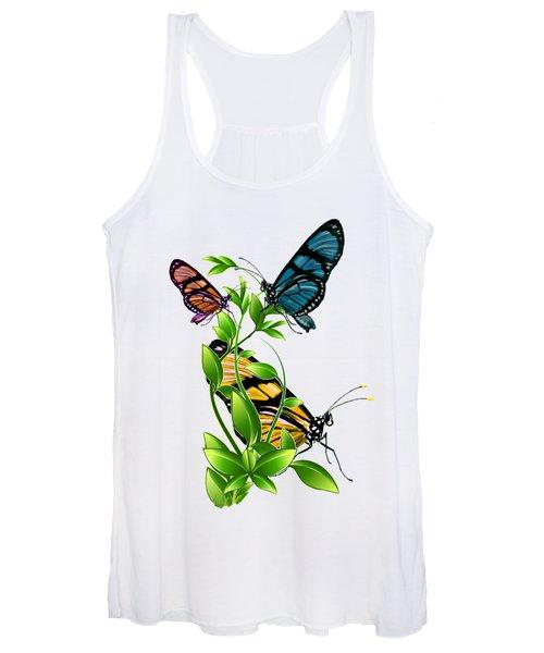Butterflies On Leaves Women's Tank Top