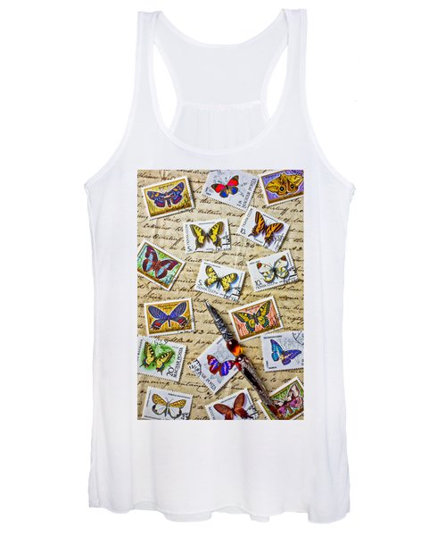Butterfly Stamps And Old Document Women's Tank Top
