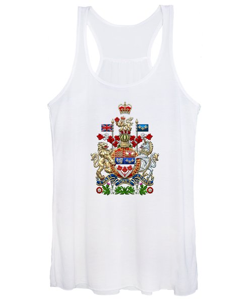 Canada Coat Of Arms Over White Leather Women's Tank Top