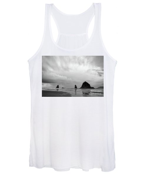 Cannon Beach In Black And White Women's Tank Top