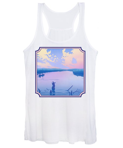 Canoeing The River Back To Camp At Sunset Landscape Abstract - Square Format Women's Tank Top