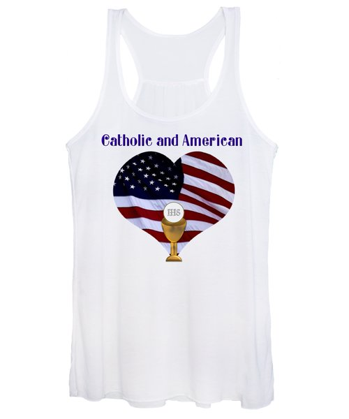 Catholic And American Flag And Holy Eucharist Women's Tank Top