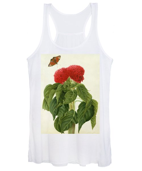 Celosia Argentea Cristata And Butterfly Women's Tank Top
