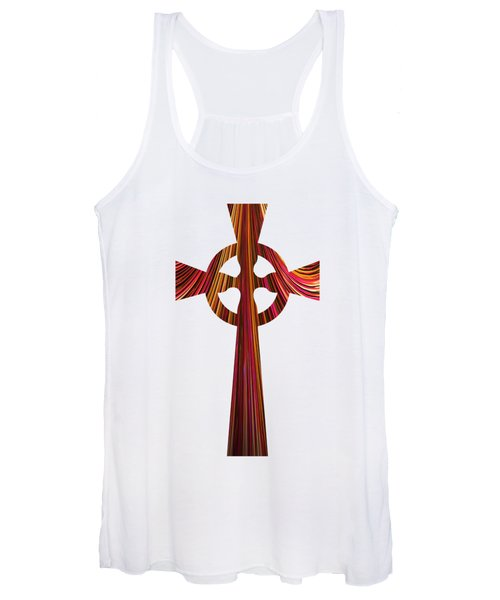Celtic Cross With Fractal Abstract Fill Women's Tank Top