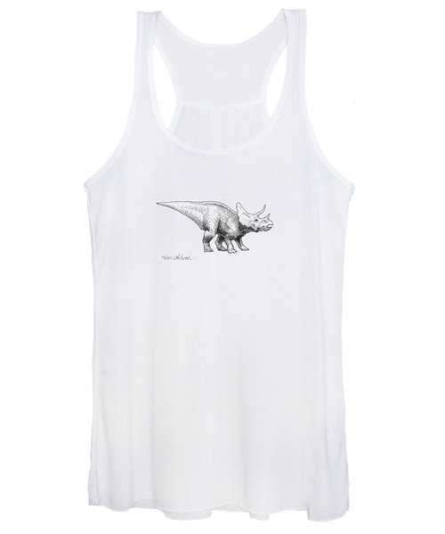 Cera The Triceratops - Dinosaur Ink Drawing Women's Tank Top