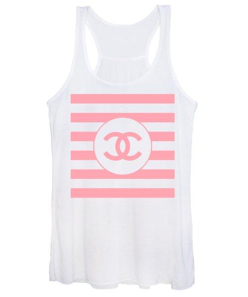 Chanel - Stripe Pattern - Pink - Fashion And Lifestyle Women's Tank Top