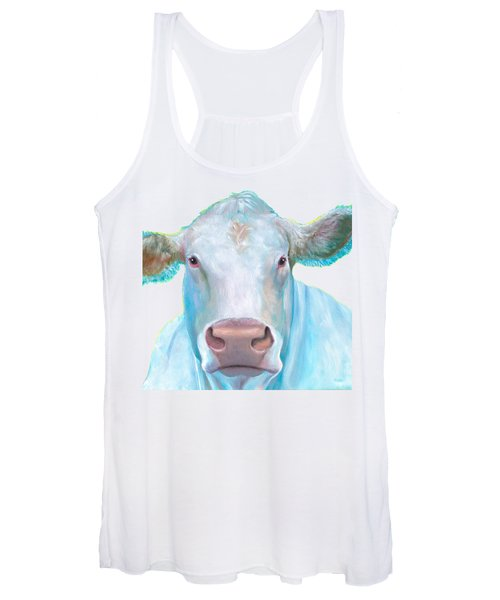 Charolais Cow Painting On White Background Women's Tank Top