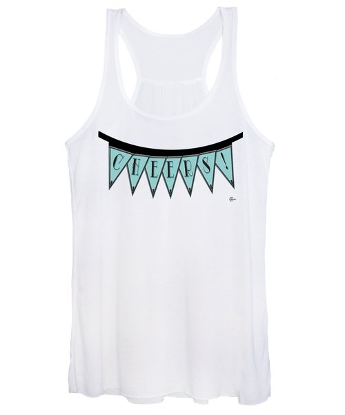 Pennant Deco Blues Streamer Sign Cheers Women's Tank Top