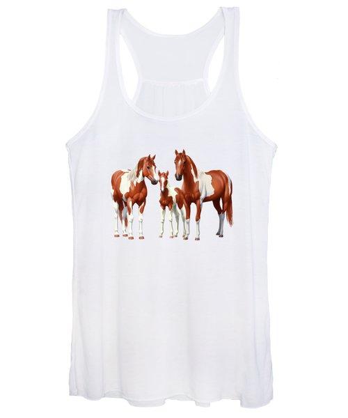 Chestnut Paint Horses In Snow Women's Tank Top