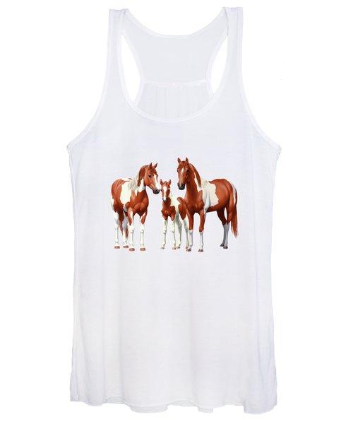 Chestnut Paint Horses In Winter Pasture Women's Tank Top