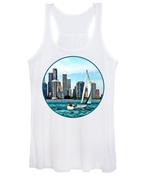 Chicago Il - Sailboat Against Chicago Skyline Women's Tank Top
