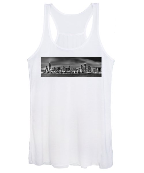 Chicago Skyline At Night Black And White Women's Tank Top