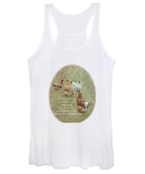 Chickens With Attitude On A Transparent Background Women's Tank Top