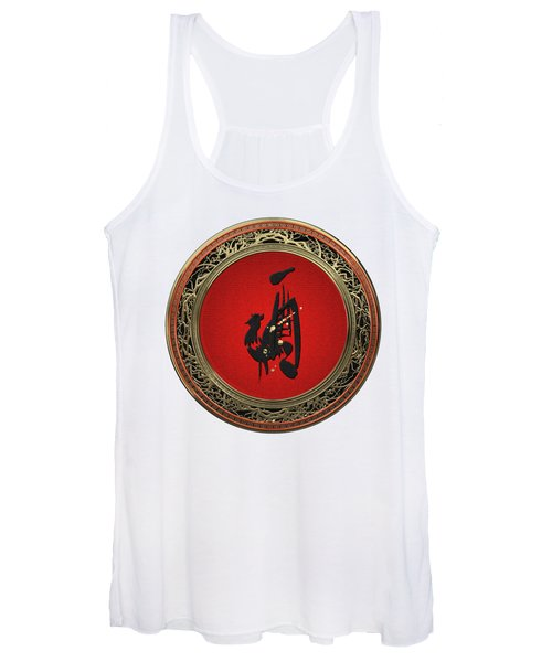 Chinese Zodiac - Year Of The Rooster On White Leather Women's Tank Top