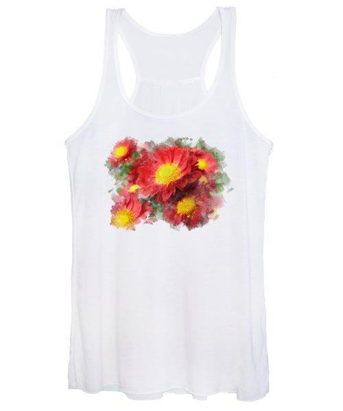 Chrysanthemum Watercolor Art Women's Tank Top