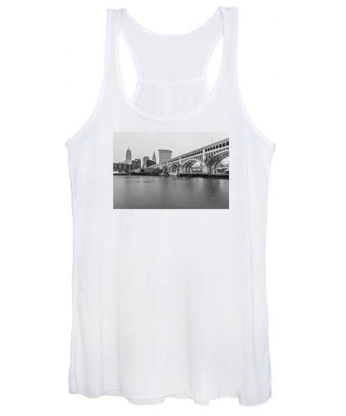 Cleveland Skyline In Black And White  Women's Tank Top