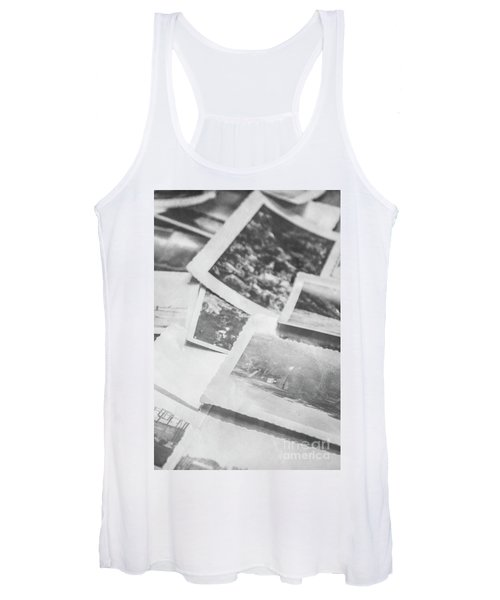 Close Up On Old Black And White Photographs Women's Tank Top