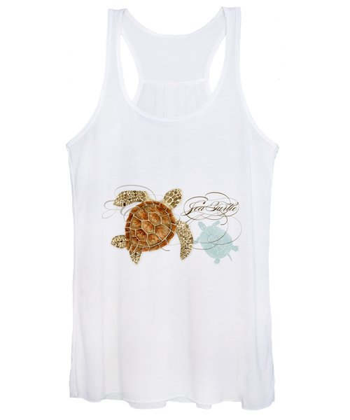 Coastal Waterways - Green Sea Turtle Rectangle 2 Women's Tank Top