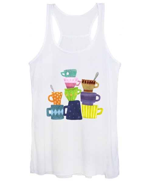 Coffee And Tea Cups And Mugs Stacked High  Women's Tank Top