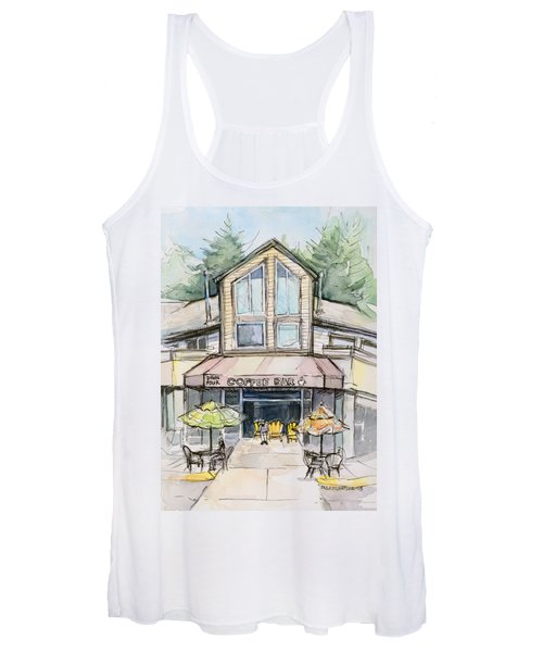 Coffee Shop Watercolor Sketch Women's Tank Top