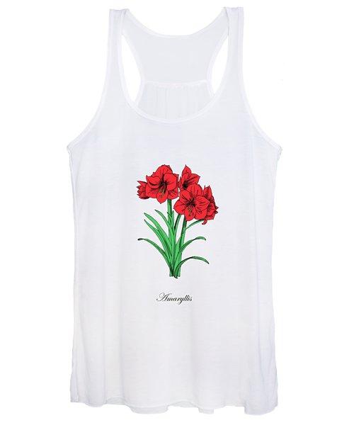 Colored Amaryllis. Botanical Women's Tank Top