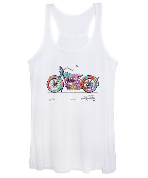 Colorful 1928 Harley Motorcycle Patent Artwork Women's Tank Top