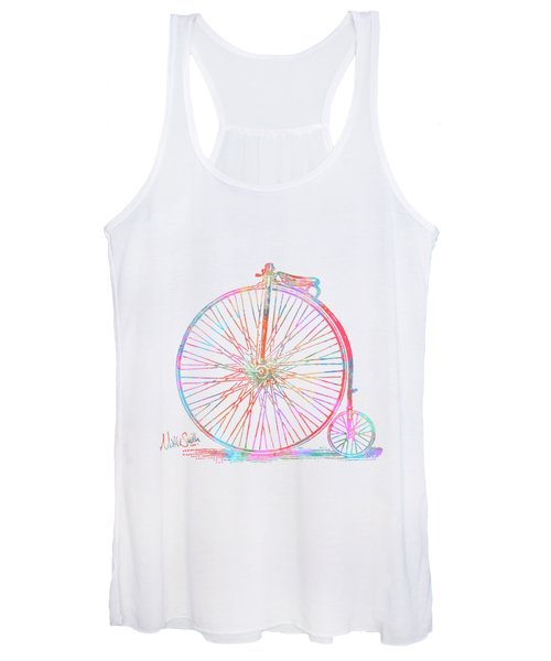 Colorful Penny-farthing 1867 High Wheeler Bicycle Women's Tank Top