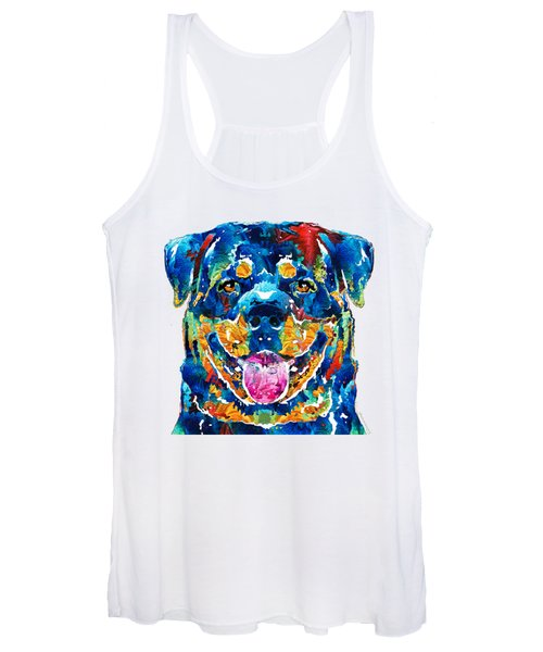 Colorful Rottie Art - Rottweiler By Sharon Cummings Women's Tank Top