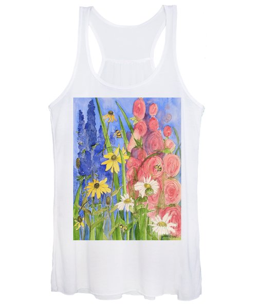 Cottage Garden Daisies And Blue Skies Women's Tank Top