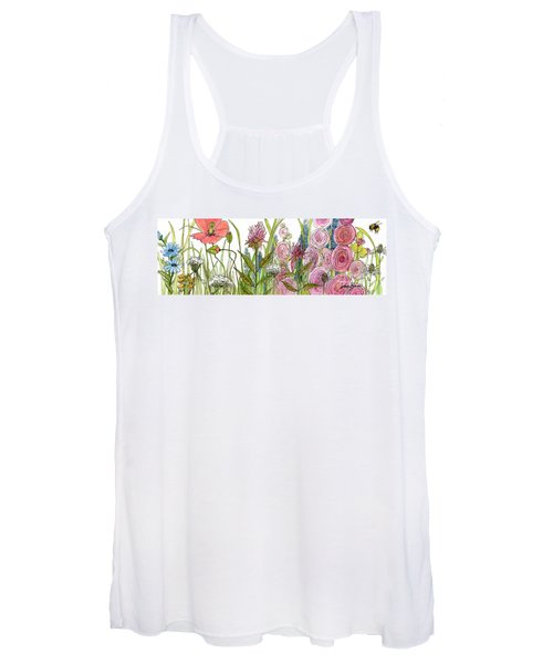 Cottage Hollyhock Garden Women's Tank Top