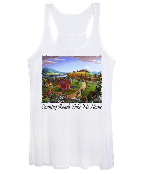 Country Roads Take Me Home T Shirt - Appalachian Blackberry Patch Rural Farm Landscape Women's Tank Top