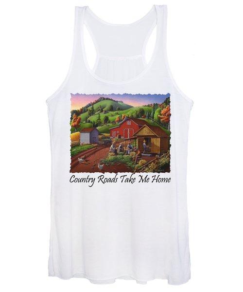 Country Roads Take Me Home T Shirt - Farmers Shucking Corn - Corn Crib - Farm Landscape Women's Tank Top