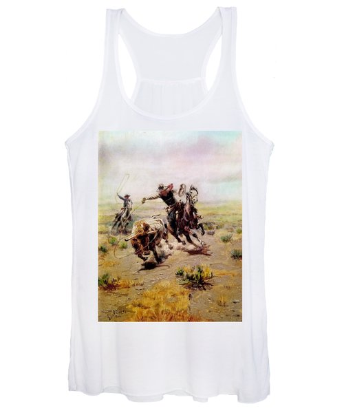 Cowboy Roping A Steer Women's Tank Top