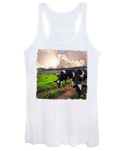 Cows At Sunset Bordered Women's Tank Top