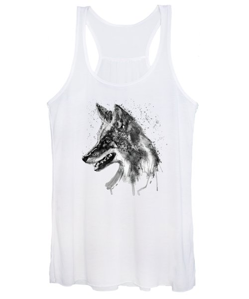 Coyote Head Black And White Women's Tank Top