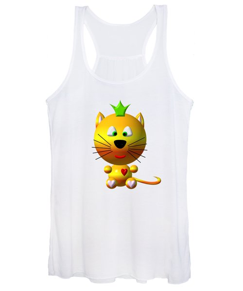 Cute Cat With Crown Women's Tank Top