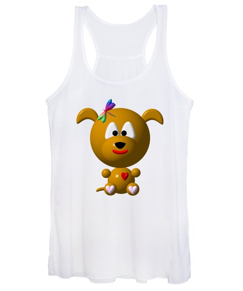 Cute Dog With Dragonfly Women's Tank Top