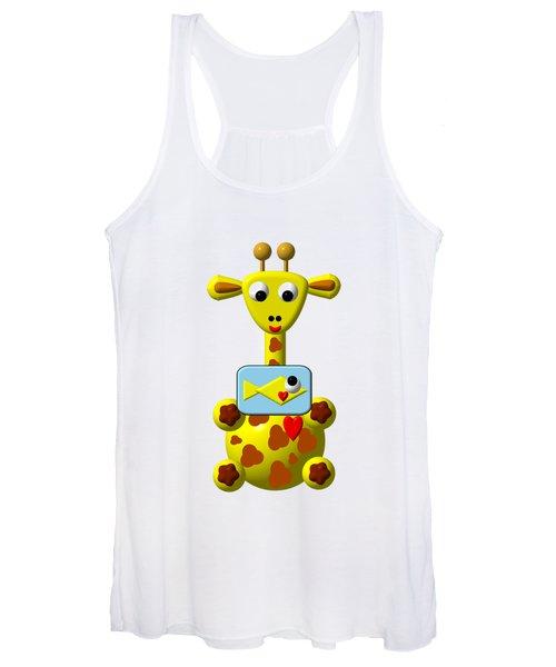 Cute Giraffe With Goldfish Women's Tank Top