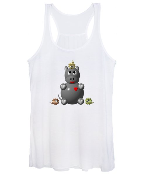 Cute Hippo With Hamsters Women's Tank Top