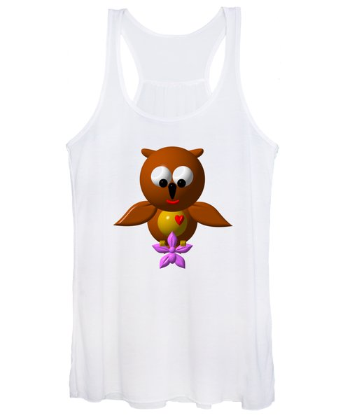 Cute Owl With Orchid Women's Tank Top
