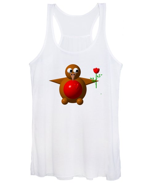 Cute Robin With Rose Women's Tank Top