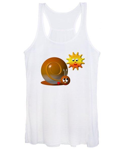 Cute Snail With Smiling Sun Women's Tank Top