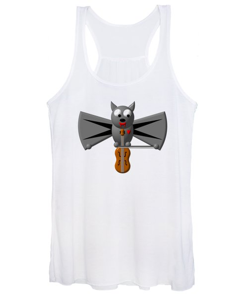 Cute Vampire Bat With Violin Women's Tank Top
