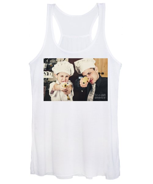 Dad And Son Cooks Shooting With Bananas In Kitchen Women's Tank Top