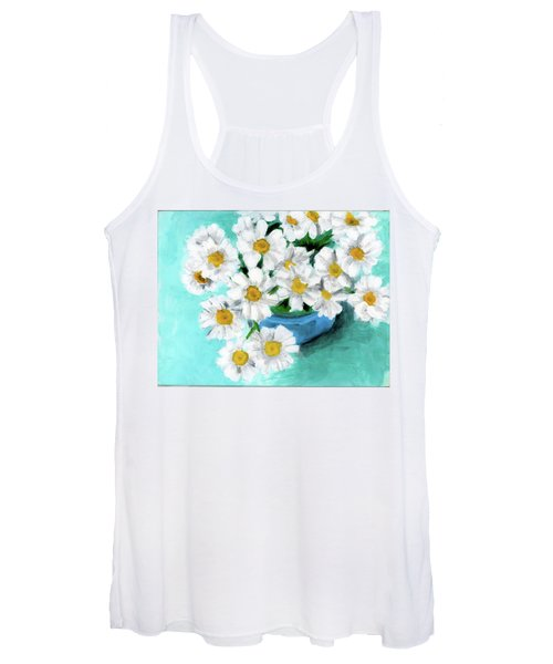 Daisies In Blue Bowl Women's Tank Top