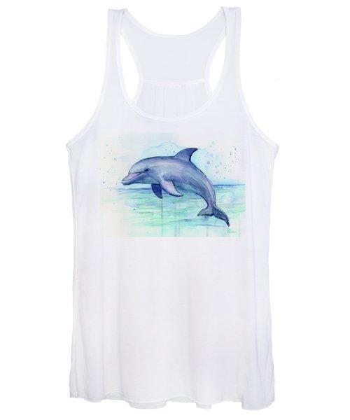 Dolphin Watercolor Women's Tank Top