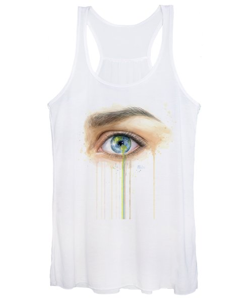 Earth In The Eye Crying Planet Women's Tank Top