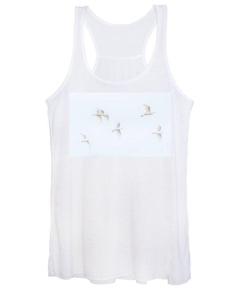 Egrets White On White Color Women's Tank Top
